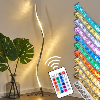 Saginaw Lampada da terra LED Nichel opaco, 1-Luce, Telecomando, Cambia colore