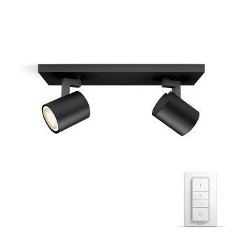 Philips Hue Ambiance White Runner Set di base per spot a soffitto Nero, 2-Luci, Telecomando