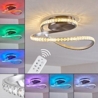 Saginaw Plafoniera LED Nichel opaco, 1-Luce, Telecomando, Cambia colore