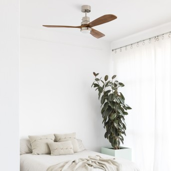Faro Barcelona Lantau ventilatore da soffitto LED Nichel opaco, 1-Luce, Telecomando