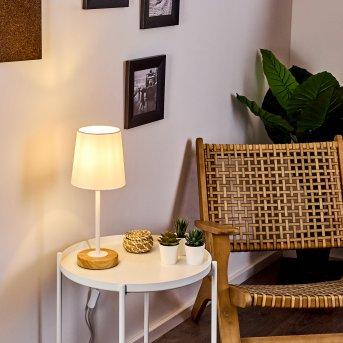 Leirado Lampada da tavolo Bianco, Legno scuro, 1-Luce