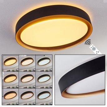 Beade Plafoniera LED Nero, Oro, 1-Luce, Telecomando