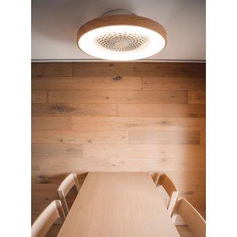 Mantra TIBET ventilatore da soffitto LED Bianco, Legno scuro, 1-Luce, Telecomando