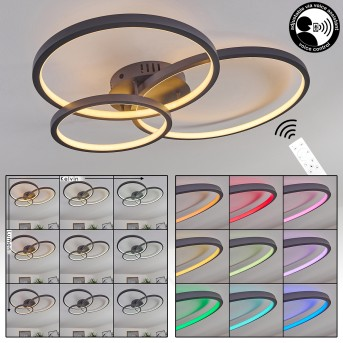 Moemoto Plafoniera LED Antracite, 1-Luce, Telecomando