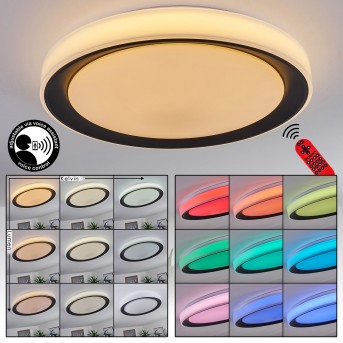 Gladstone Plafoniera LED Nero, Bianco, 1-Luce, Telecomando