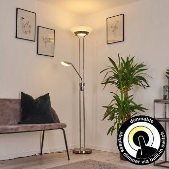 Mairoa Lampada da terra LED Nichel opaco, 2-Luci