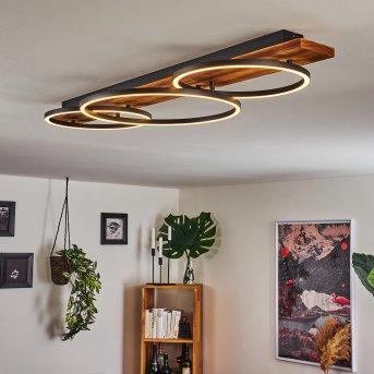 Pompu Plafoniera LED Nero, Legno scuro, 3-Luci