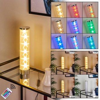 Hatara Lampada da tavolo LED Cromo, 1-Luce, Telecomando, Cambia colore
