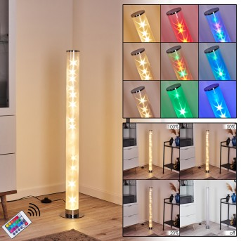 Hatara Lampada da terra LED Cromo, 1-Luce, Telecomando, Cambia colore