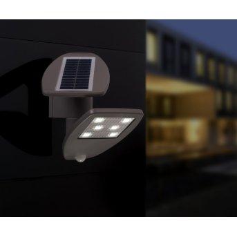 Lutec ZETA Applique per esterno LED Grigio, 1-Luce, Sensori di movimento