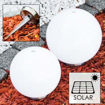 Set di lampade solari a sfera LED Acciaio inox, 2-Luci