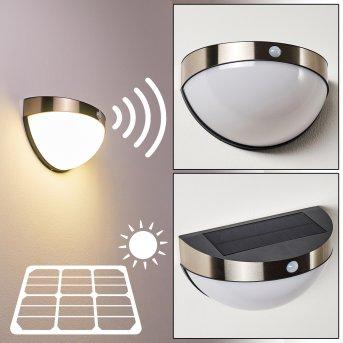 Basra Lampada solare LED Cromo, 1-Luce, Sensori di movimento