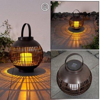 Aosta Lampada solare LED Marrone, 1-Luce