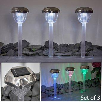 Groningen Lampada solare LED Acciaio inox, Trasparente, chiaro, 2-Luci, Cambia colore
