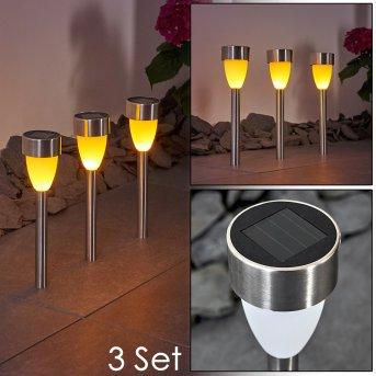 Gorizia Lampada solare LED Acciaio inox, 3-Luci