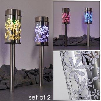 Gorizia Lampada solare LED Acciaio inox, 2-Luci, Cambia colore