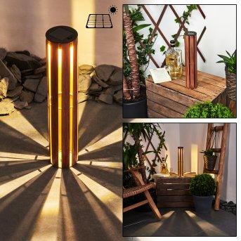Hankinson Lampada solare LED Nero, Ramato, Legno scuro, 1-Luce