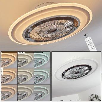 Terradura ventilatore da soffitto LED Cromo, Bianco, 1-Luce, Telecomando