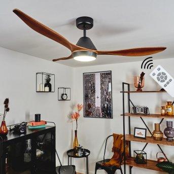 Follseland ventilatore da soffitto LED Nero, Marrone scuro, Aspetto del legno, 1-Luce, Telecomando