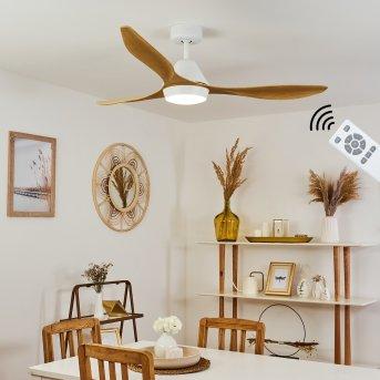 Follseland ventilatore da soffitto LED Bianco, Marrone chiaro, Aspetto del legno, 1-Luce, Telecomando