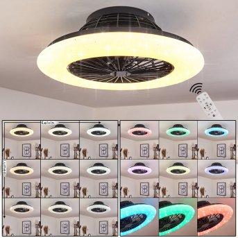 Pireaus ventilatore da soffitto LED Nero, 1-Luce, Telecomando, Cambia colore