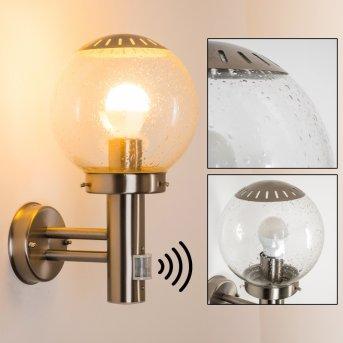 Globo BOWLE II Illuminazione esterna Acciaio inox, Trasparente, chiaro, 1-Luce, Sensori di movimento