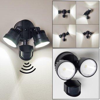 Emmerlev Applique da esterno LED Nero, 2-Luci, Sensori di movimento