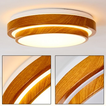 Sora Wood Plafoniera LED Bianco, Legno chiaro, 1-Luce