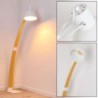 Higashi Lampada da terra Bianco, Legno chiaro, 1-Luce