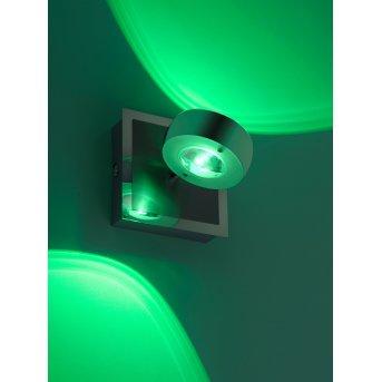 Applique Leuchten Direkt Ls-OPTI LED Acciaio inox, 2-Luci, Telecomando, Cambia colore