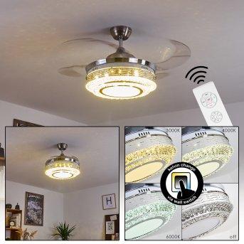 Bendigo ventilatore da soffitto LED Nichel opaco, Trasparente, chiaro, 1-Luce