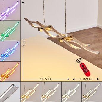 Gamsen Lampada a Sospensione LED Acciaio satinato, 3-Luci, Telecomando, Cambia colore