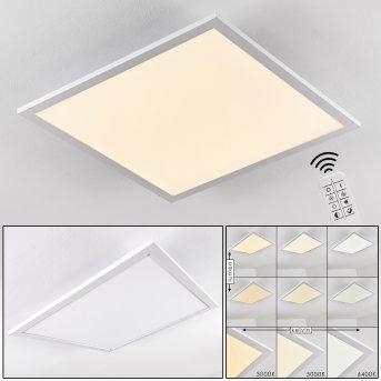 Salmi Plafoniera LED Alluminio, Bianco, 1-Luce, Telecomando