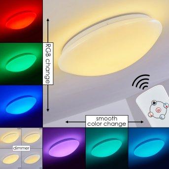 Brighton Plafoniera LED Bianco, 1-Luce, Telecomando, Cambia colore