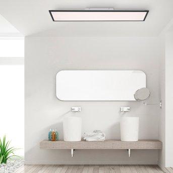 Leuchten-Direkt FLAT Plafoniera LED Nero, 1-Luce, Telecomando