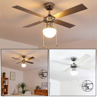 Valletta ventilatore da soffitto Cromo, Argento, Bianco, 1-Luce