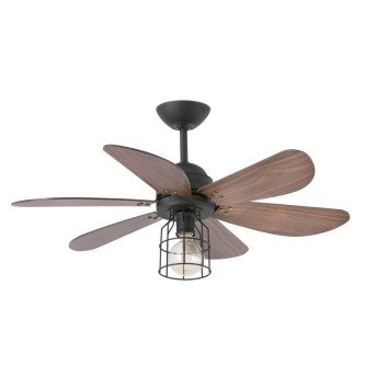 Faro Barcelona Chicago Ventilatore da soffitto con lampadina Nero, 1-Luce
