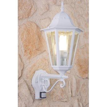 Lutec BRISTOL Applique per esterno Bianco, Trasparente, chiaro, 1-Luce, Sensori di movimento