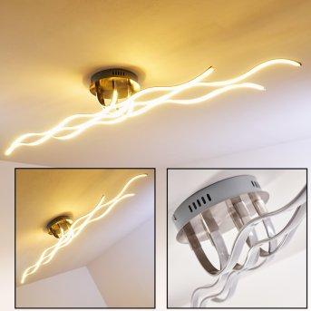 Bovino Plafoniera LED Nichel opaco, 1-Luce