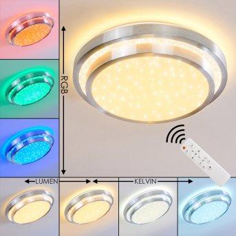 Mirabeau Plafoniera LED Alluminio, 2-Luci, Telecomando, Cambia colore
