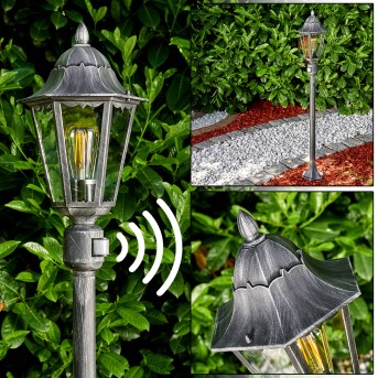 Lignac Lampada da terra per esterno Nero, Argento, 1-Luce, Sensori di movimento