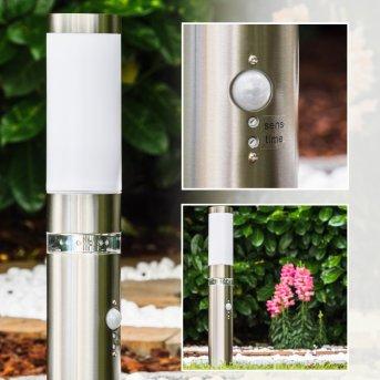 Avize Lampada con piedistallo per esterno Acciaio inox, 1-Luce, Sensori di movimento