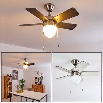 Ellmau ventilatore da soffitto Cromo, Grigio, Bianco, 1-Luce