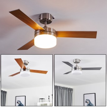Vevey ventilatore da soffitto Nichel opaco, Argento, Legno chiaro, 2-Luci, Telecomando