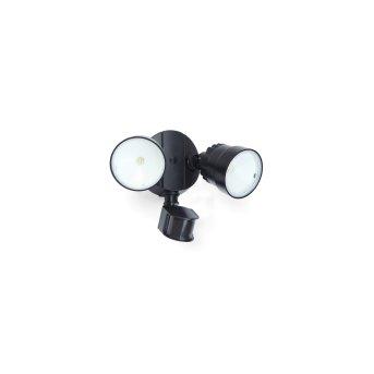 Lutec SHRIMP Applique da esterno LED Nero, 2-Luci, Sensori di movimento