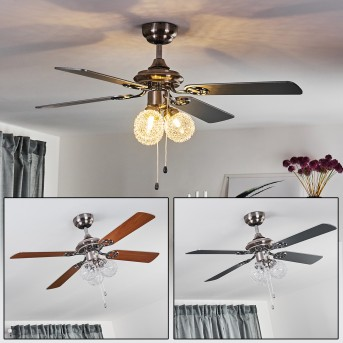Estepona ventilatore da soffitto LED Cromo, Marrone, Bianco, 3-Luci