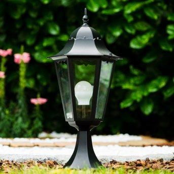 Lampada con piedistallo nera Nero, Trasparente, chiaro, 1-Luce