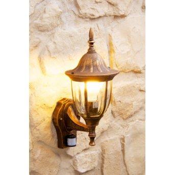 Ribadeo Applique per esterno Marrone, Oro, 1-Luce, Sensori di movimento