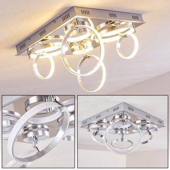 Aragno Plafoniera LED Nichel opaco, Cromo, 1-Luce