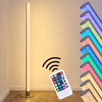 Pipe Lampada da terra LED Nichel opaco, 1-Luce, Telecomando, Cambia colore